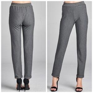 Pants - Grey Pin Stripe Elastic Waist Cuff Hem Pants